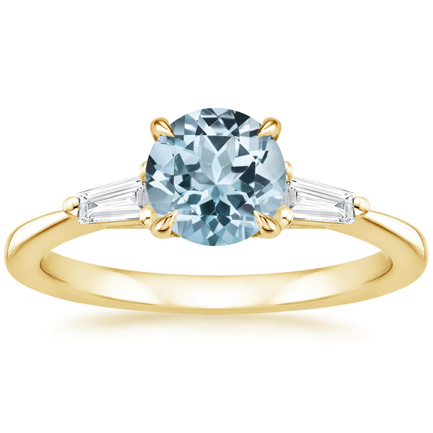 Yellow Gold Aquamarine Quinn Diamond Ring