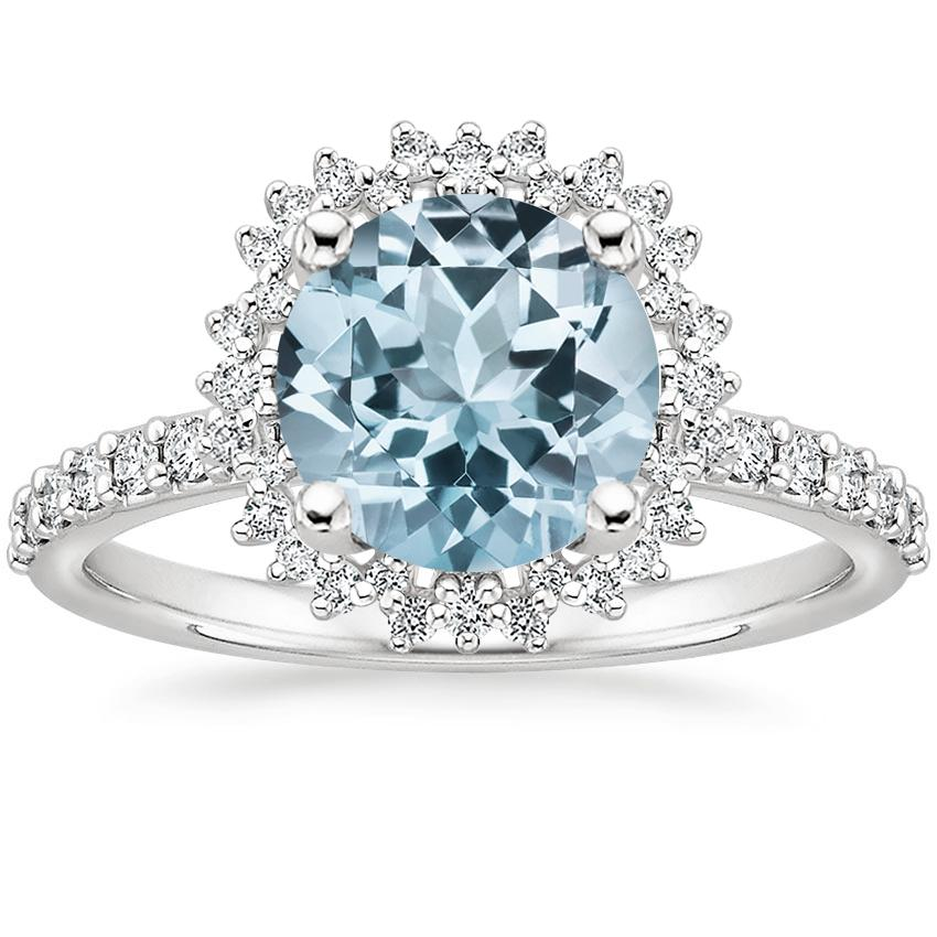 Aquamarine Twilight Diamond Ring in 18K White Gold