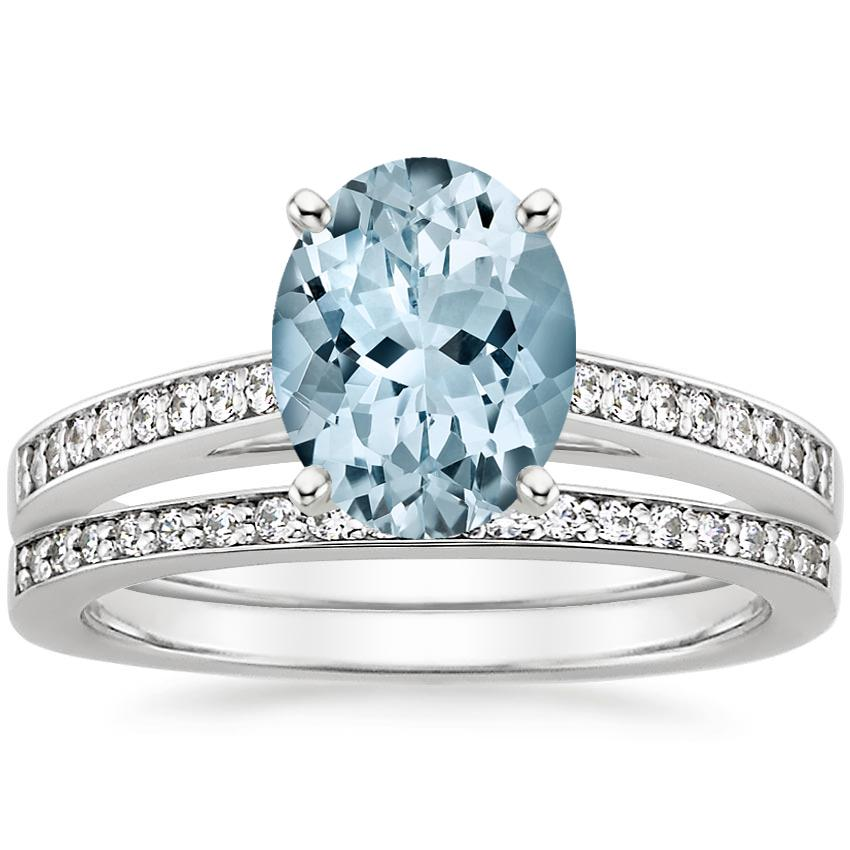 18KW Aquamarine Starlight Diamond Bridal Set (1/4 ct. tw.), top view