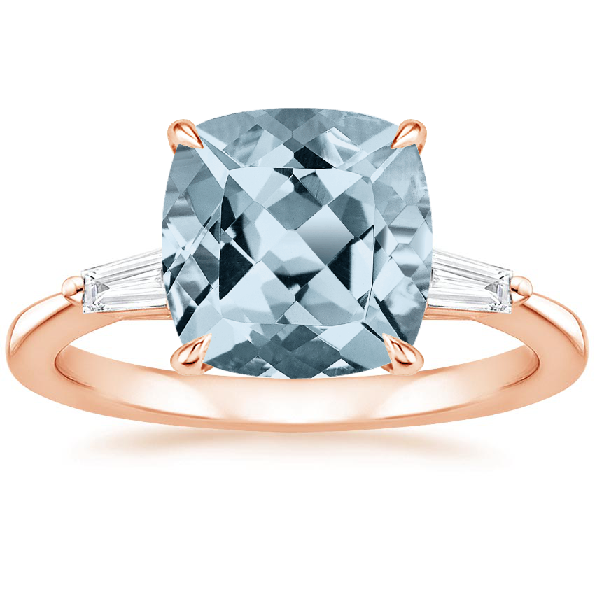 Rose Gold Aquamarine Quinn Diamond Ring