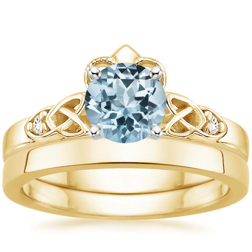 18KY Aquamarine Celtic Claddagh Diamond Bridal Set, top view