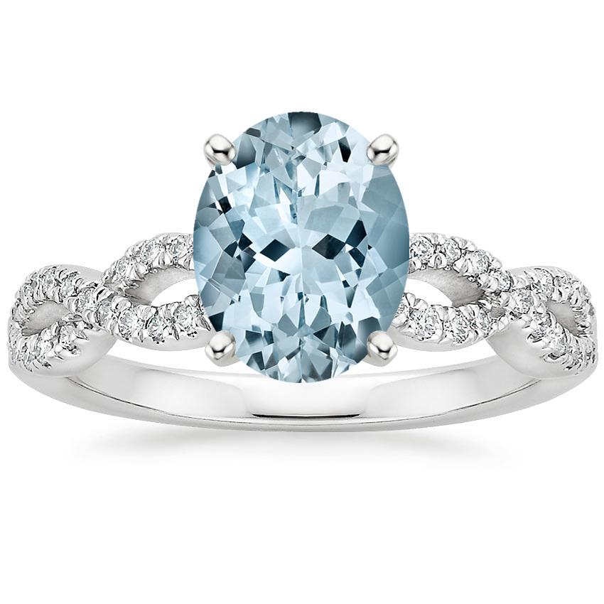 Aquamarine Infinity Diamond Ring in Platinum