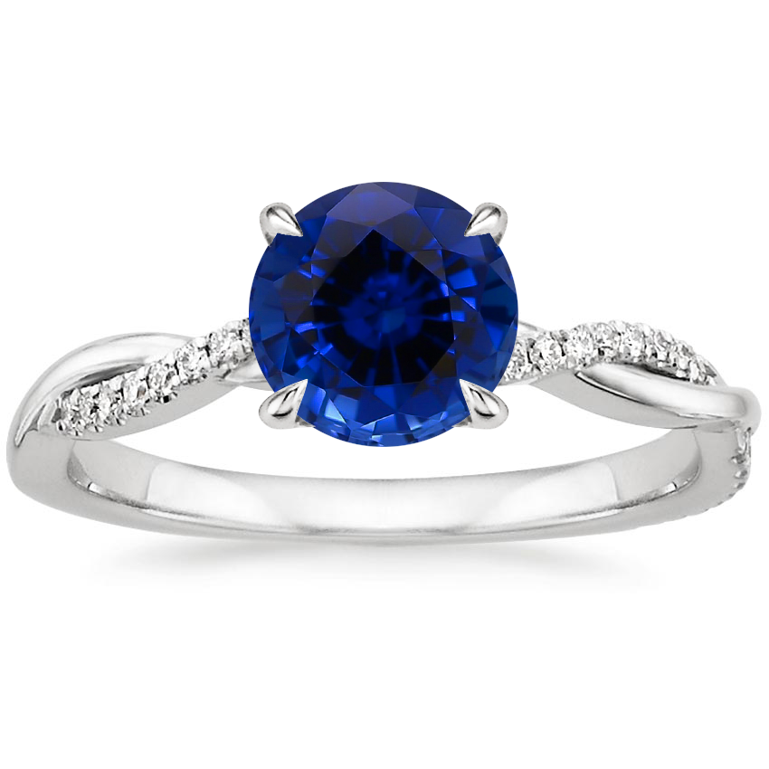 Sapphire Petite Twisted Vine Diamond Ring (1/8 ct. tw.) in 18K White Gold
