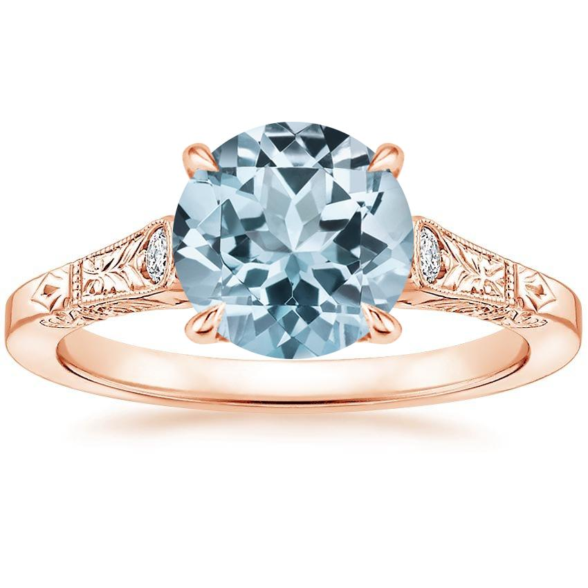 Rose Gold Aquamarine Valentina Diamond Ring