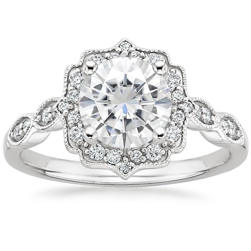 Moissanite Cadenza Halo Diamond Ring in 18K White Gold