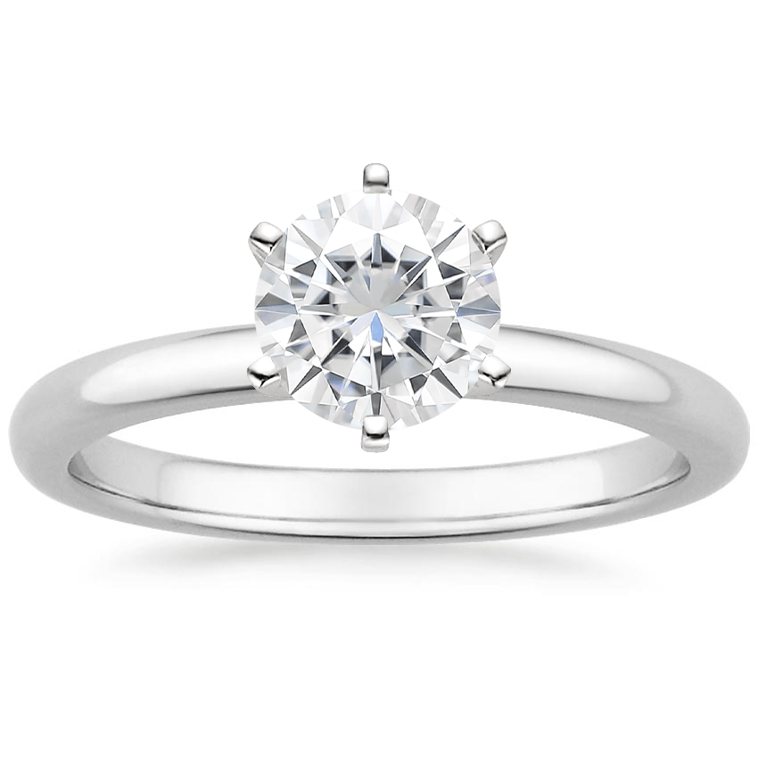 Moissanite Six-Prong 2mm Comfort Fit Ring in 18K White Gold