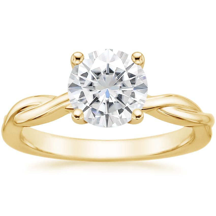 Yellow Gold Moissanite Twisted Vine Ring