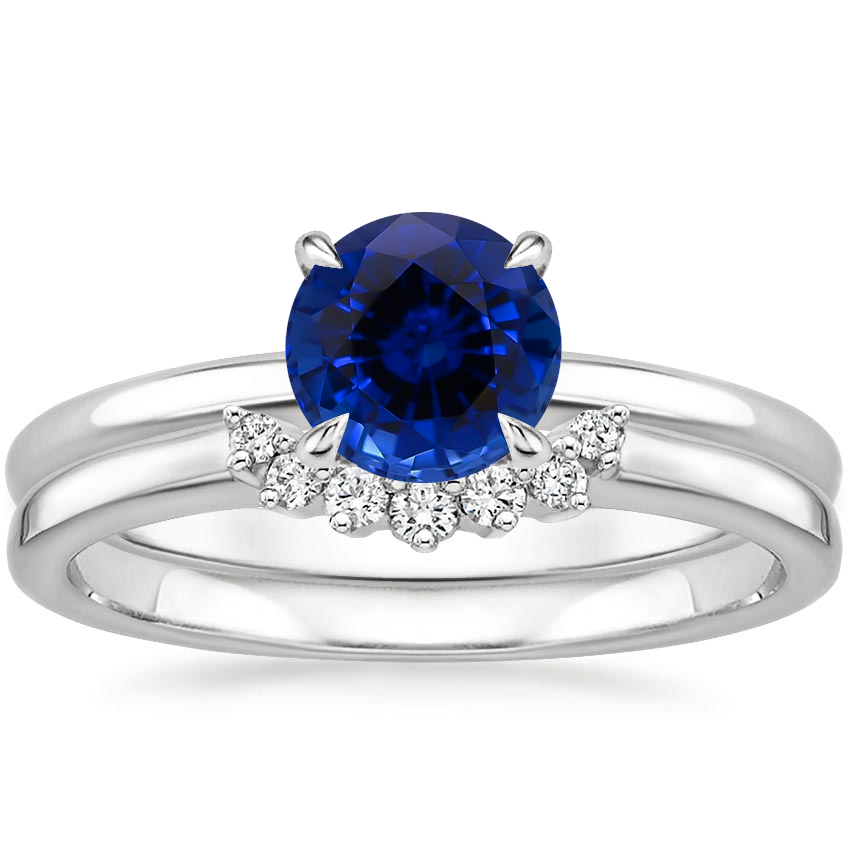 18KW Sapphire Elodie Ring with Crescent Diamond Ring, top view