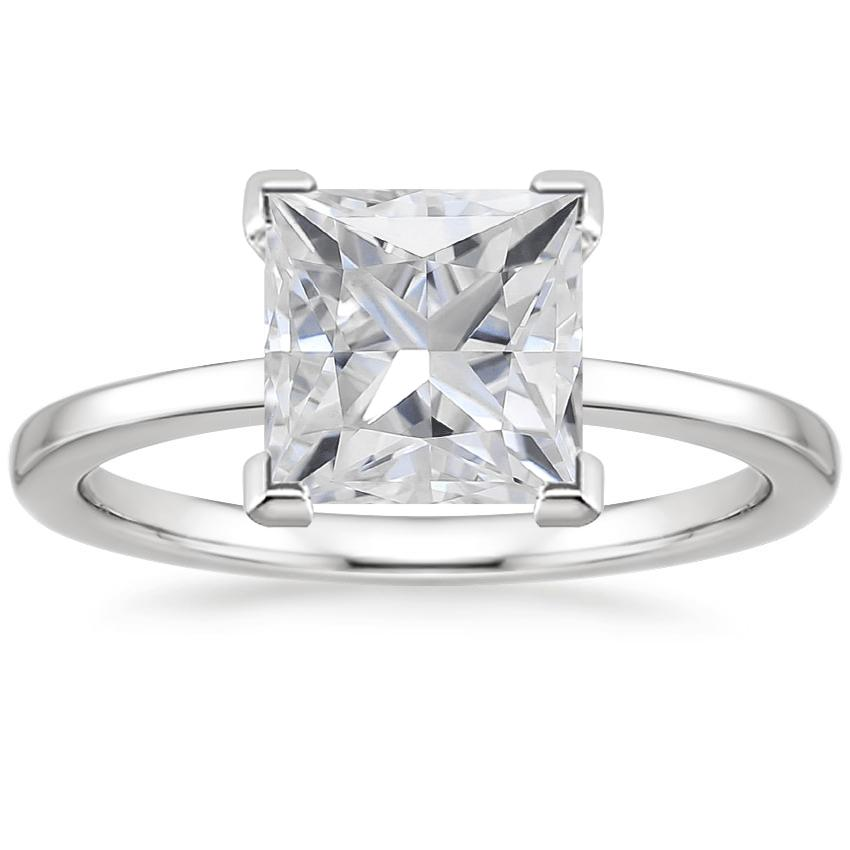Moissanite Petite Quattro Ring in 18K White Gold