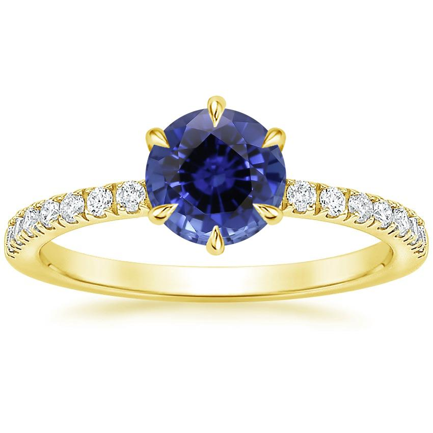 Yellow Gold Sapphire Poppy Diamond Ring