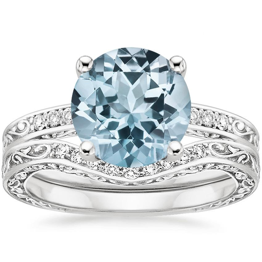 18KW Aquamarine Delicate Antique Scroll Contoured Diamond Bridal Set, top view