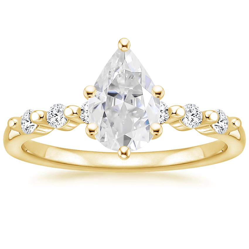 Yellow Gold Moissanite Petite Marseille Diamond Ring (1/6 ct. tw.)