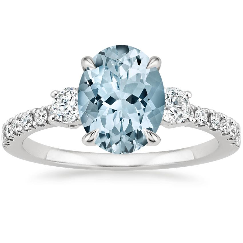 Aquamarine Radiance Diamond Ring (1/3 ct. tw.) in 18K White Gold