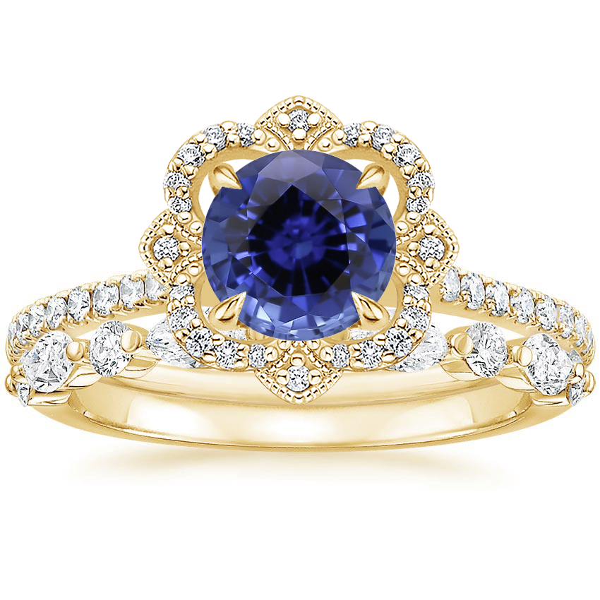 18KY Sapphire Reina Diamond Ring with Versailles Diamond Ring (3/8 ct. tw.), top view