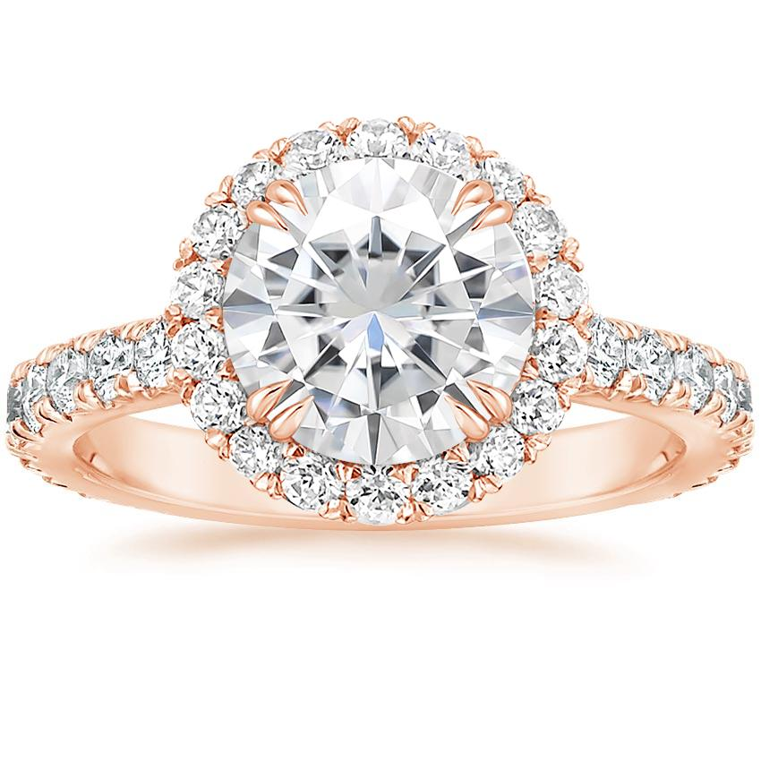 Rose Gold Moissanite Luxe Sienna Halo Diamond Ring (3/4 ct. tw.)