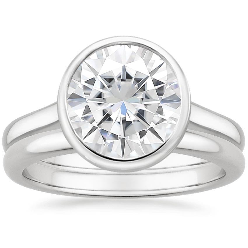 18KW Moissanite Luna Bridal Set, top view