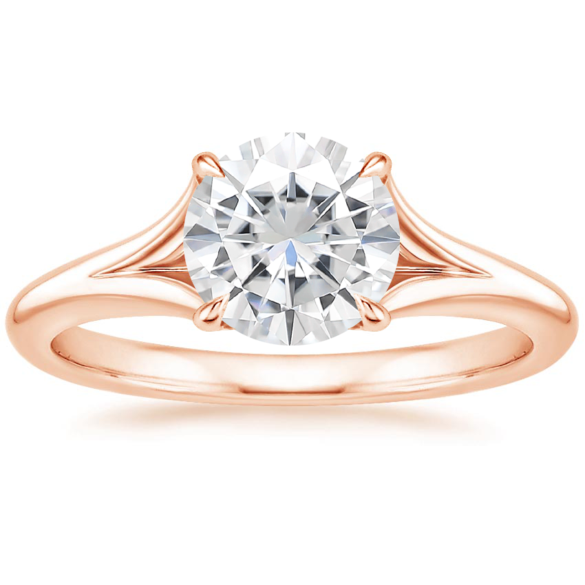 Rose Gold Moissanite Reverie Ring with Surprise Sapphire Accents