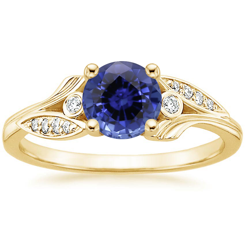 Yellow Gold Sapphire Jasmine Diamond Ring