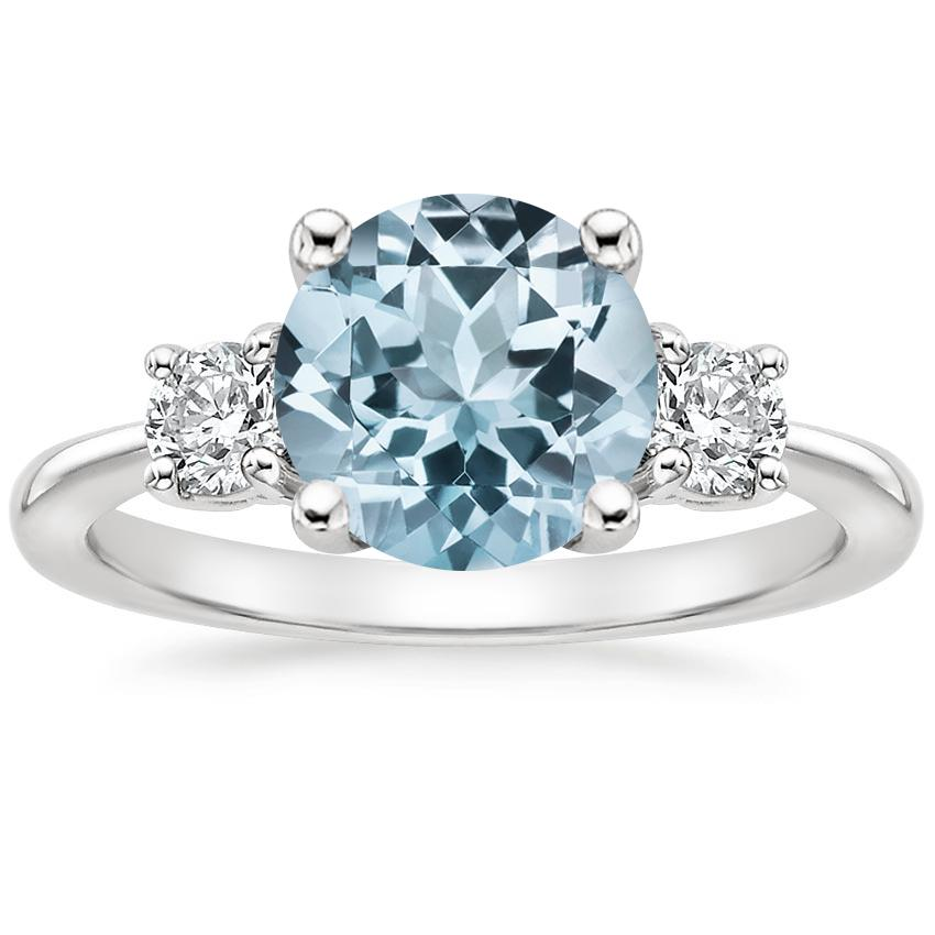 Aquamarine Tapered Three Stone Diamond Ring (1/3 ct. tw.) in 18K White Gold
