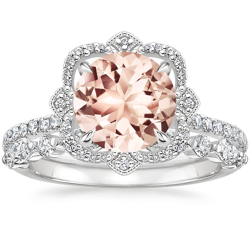 PT Morganite Reina Diamond Ring with Versailles Diamond Ring (3/8 ct. tw.), top view