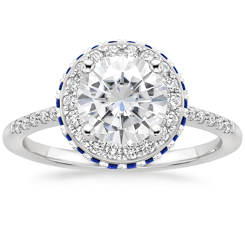 Moissanite Circa Diamond Ring with Sapphire Accents (1/4 ct. tw.) in Platinum