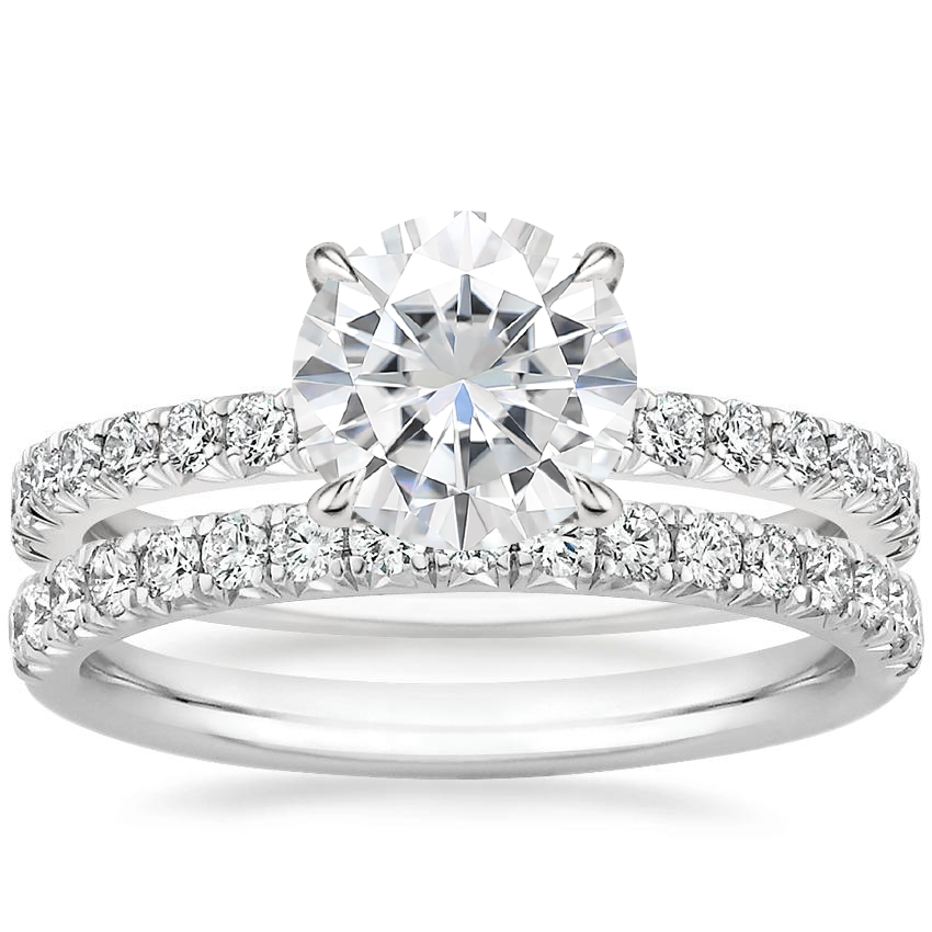 18KW Moissanite Amelie Diamond Bridal Set, top view