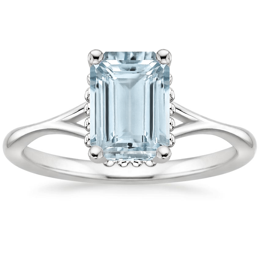 Aquamarine Cava Ring in 18K White Gold