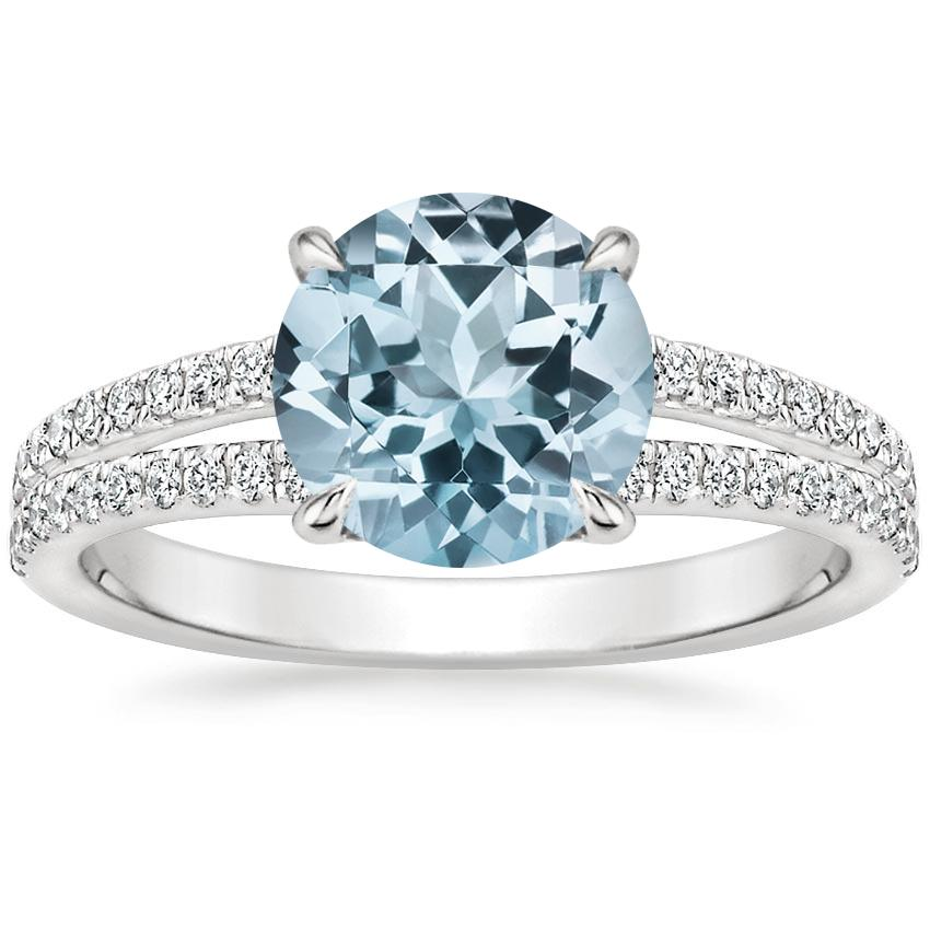 Aquamarine Mirra Diamond Ring (1/4 ct. tw.) in Platinum