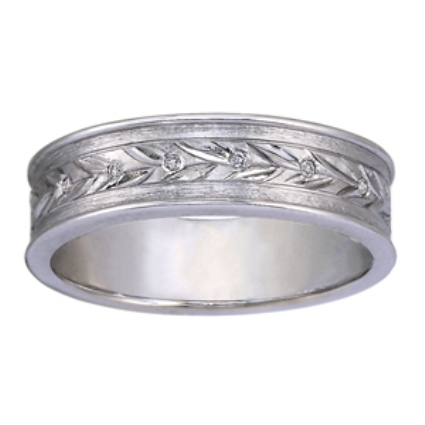 Leaf Pattern Wedding Band with 6 Flush Set Diamond Accents, top view