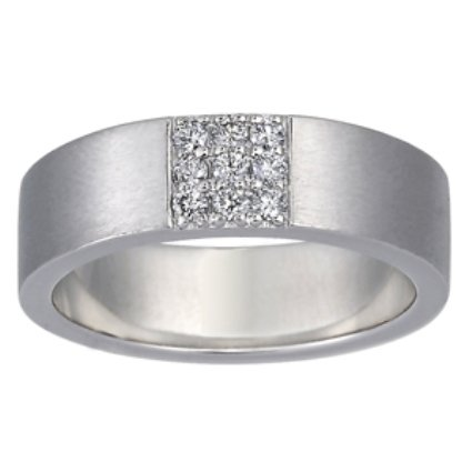 Flat Matte Band with Pave Diamond Square, top view