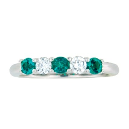 Five Stone Diamond & Emerald Ring, large top view