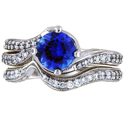 Sapphire Seacrest Matched Set with Pave-Set Diamonds and Milgrain, large top view
