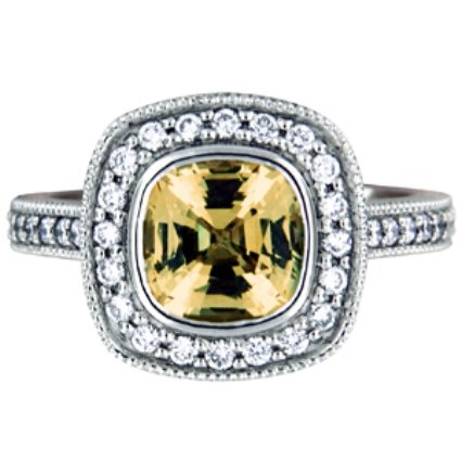 Fancy Bezel Halo Yellow Sapphire Ring, top view