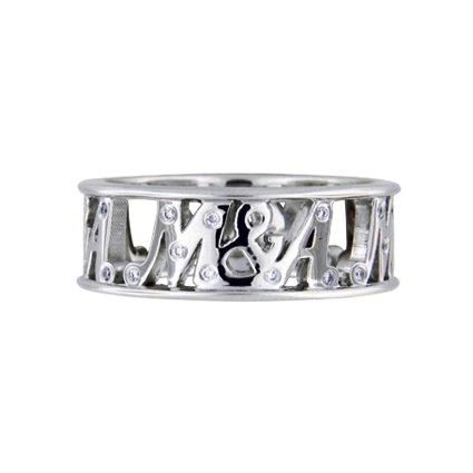 Personalized Initial Cut-Out Ring, top view
