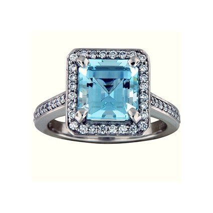 Fancy Diamond Halo Aquamarine Ring, top view