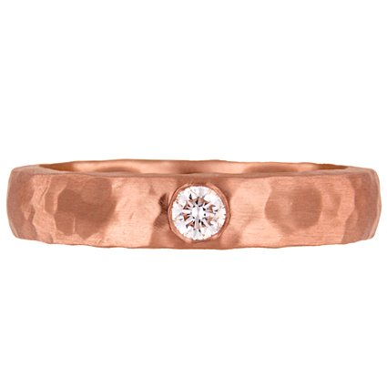 Custom Hammered Rose Gold Band with Flush-Set Diamond