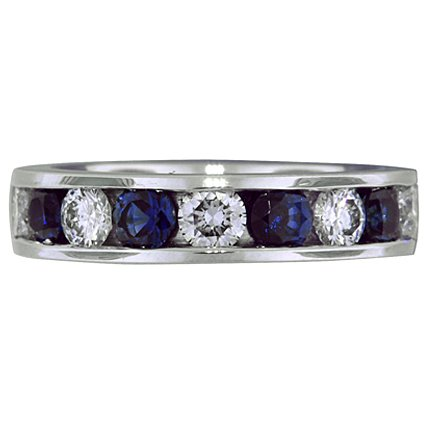 Diamond and Sapphire Channel Set Band, top view