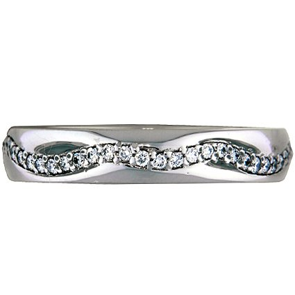 Curvy Pave Diamond Ring, top view