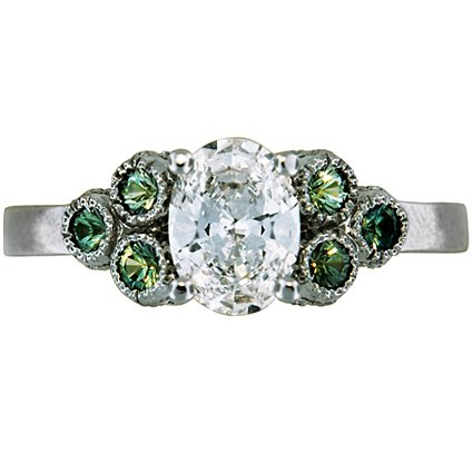 Green Sapphire Trio Ring, top view