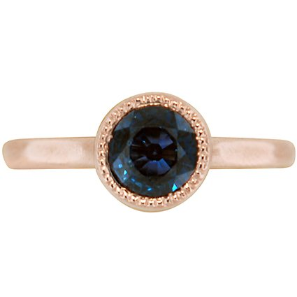 Rose Gold and Sapphire Full Bezel Ring, top view