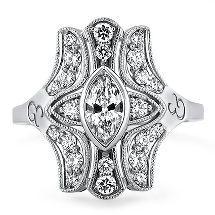 Vintage Inspired Marquise Diamond Ring, top view