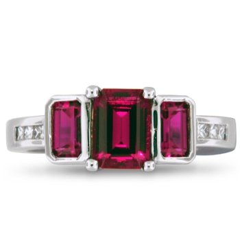 Ruby Three Stone Set, top view