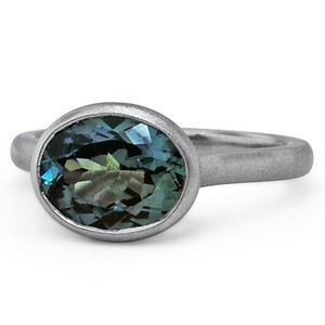Brushed Horizontally Set Sapphire Ring, top view