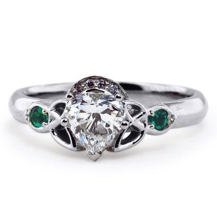 custom ring custom claddagh with emerald accents