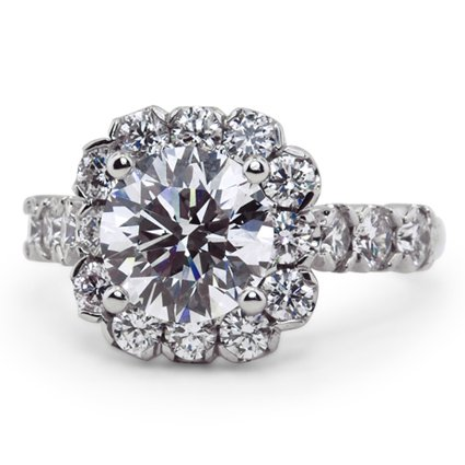 Scalloped Edge Halo Ring, top view
