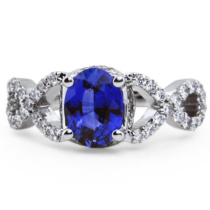 Sapphire Infinity Diamond Ring, top view