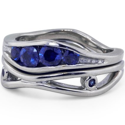 Channel-Set Sapphire Organic Wave Matched Set, top view