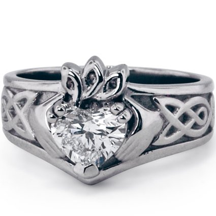 Claddagh with Heart Shaped Diamond Center, top view