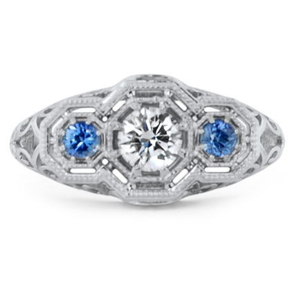 Vintage Inspired Sapphire and Diamond Ring, top view