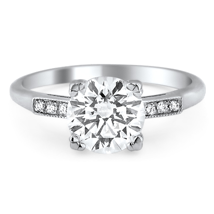 Antique-Inspired Diamond Ring, top view